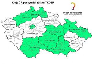 Mapa kraju s podporou TKOSP